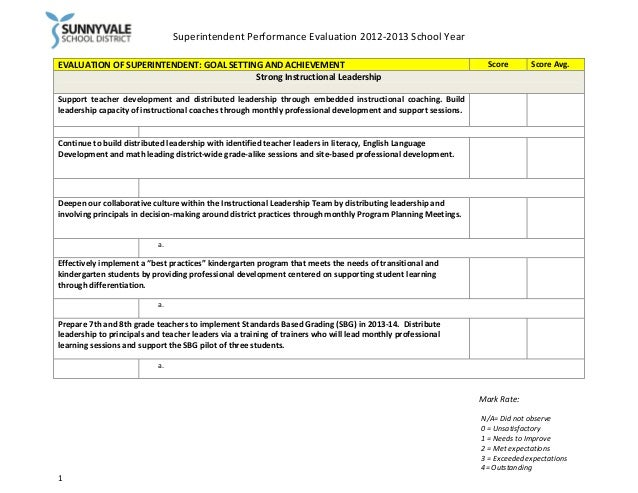 Superintendent Performance Evaluation 2012-2013 School Year EVALUATION OF SUPERINTENDENT: GOAL SETTING AND ACHIEVEMENT Str...