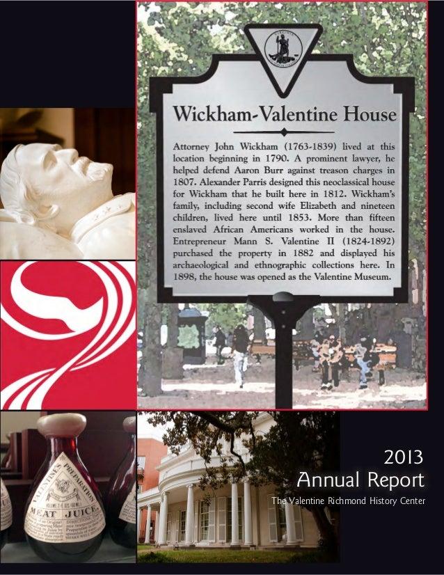2013 Annual Report The Valentine Richmond History Center