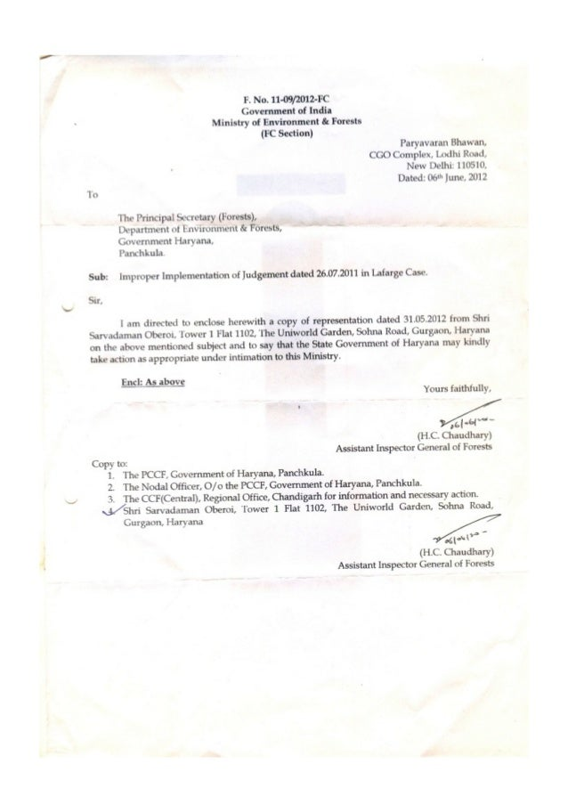 2012.06.06 dg forests mo ef letter to principal secretary forests haryana