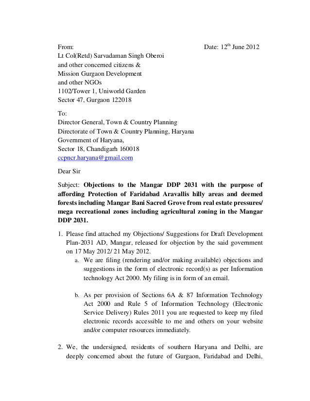 From: Lt Col(Retd) Sarvadaman Singh Oberoi and other concerned citizens & Mission Gurgaon Development and other NGOs 1102/...