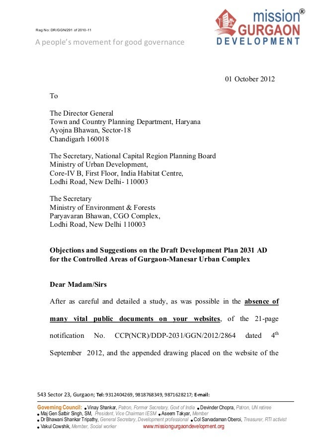2012.10.01 mgd objection letter gmuc ddp 2031 to dgtcp haryana secy mo ef and ncrpb
