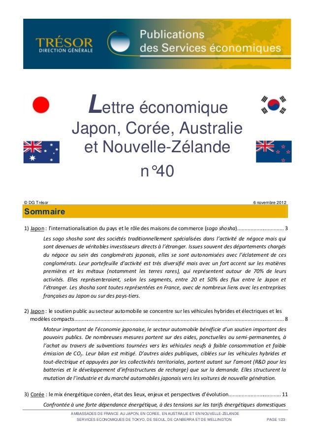 Lettre économique Japon, Corée, Australie et Nouvelle-Zélande n°40 (octobre 2012)