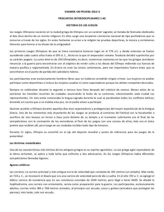 EXAMEN  UN  PRUEBA  2012-‐II   PREGUNTAS  INTERDISCIPLINARES  1-‐40   HISTORIA  DE  LOS  JUEGOS  ...