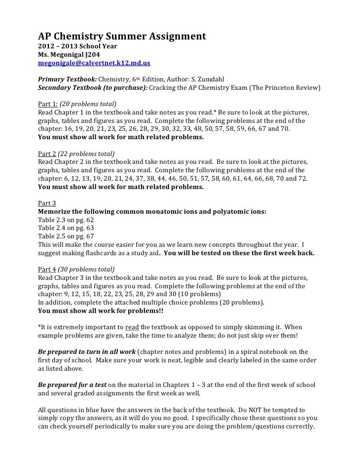 AP Chemistry Summer Assignment2012 – 2013 School YearMs. Megonigal J204megonigale@calvertnet.k12.md.usPrimary Textbook: Ch...