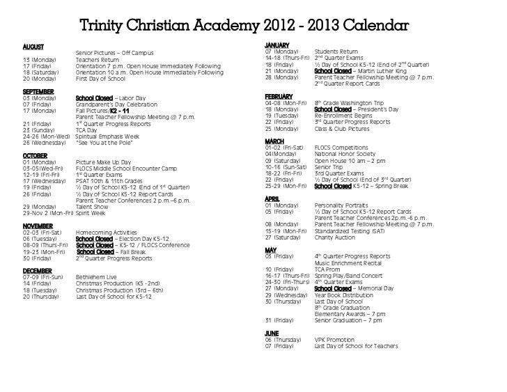 Trinity Christian Academy 2012 - 2013 CalendarAUGUST                                                                     J...