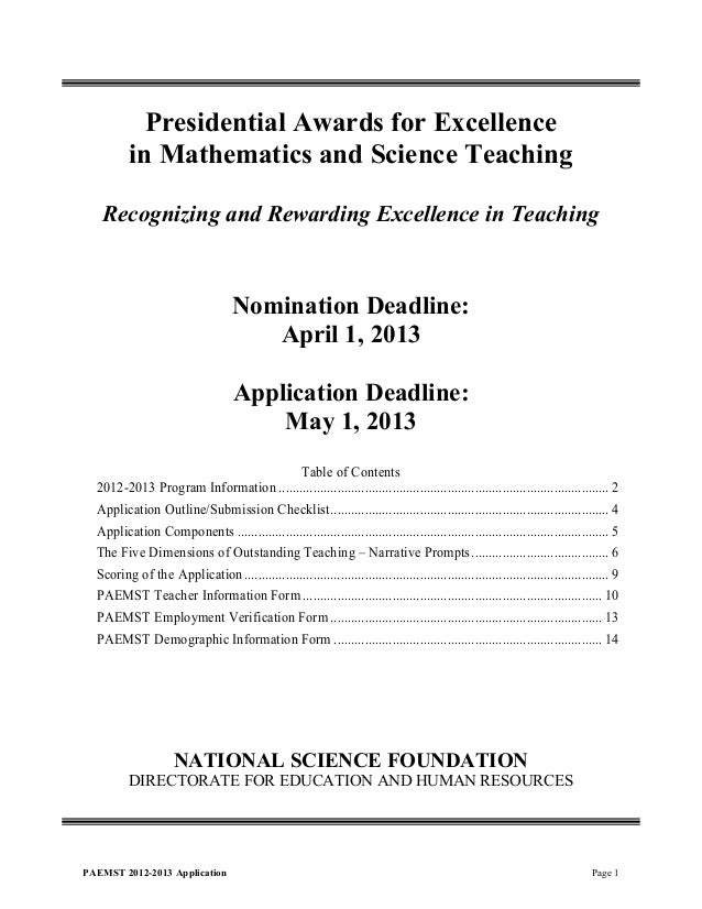 Presidential Awards for Excellence          in Mathematics and Science Teaching   Recognizing and Rewarding Excellence in ...