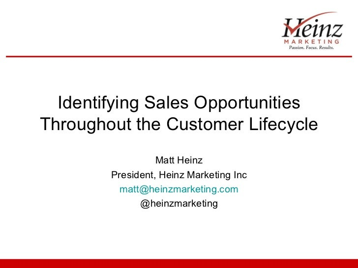 Identifying Sales OpportunitiesThroughout the Customer Lifecycle                  Matt Heinz        President, Heinz Marke...