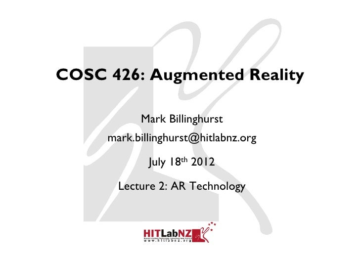 426 lecture2: AR Technology
