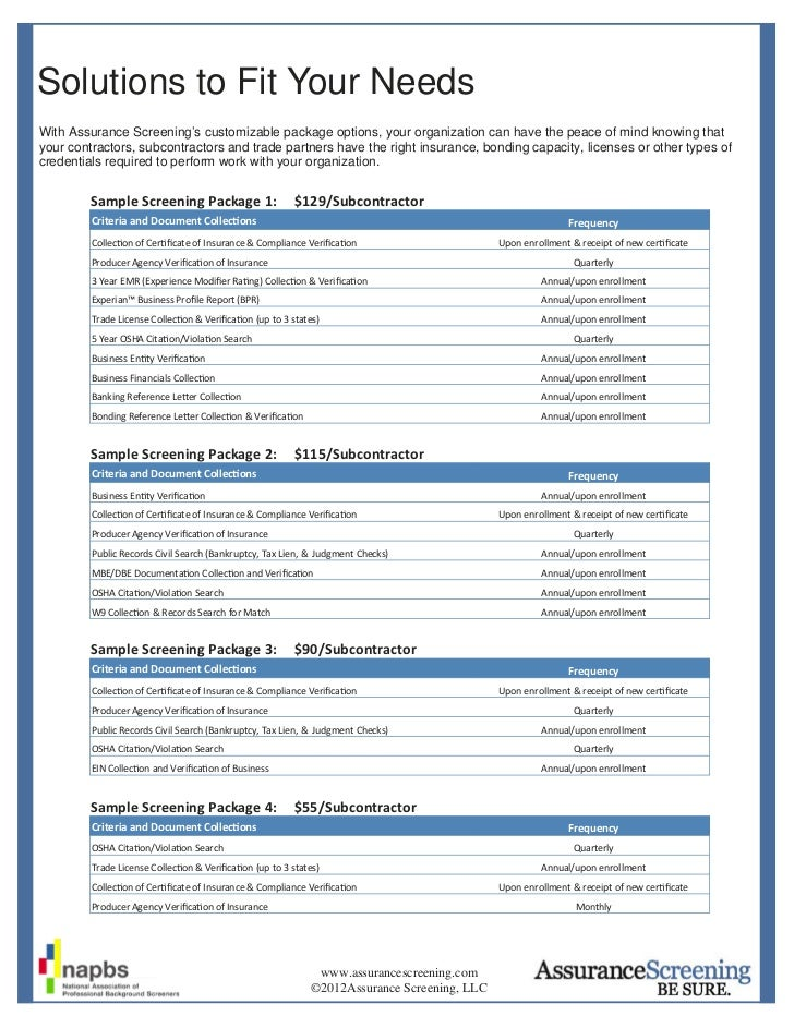 Solutions to Fit Your NeedsWith Assurance Screening's customizable package options, your organization can have the peace o...