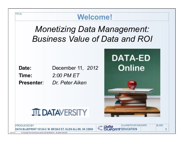 Data-Ed: Show Me the Money: The Business Value of Data and ROI