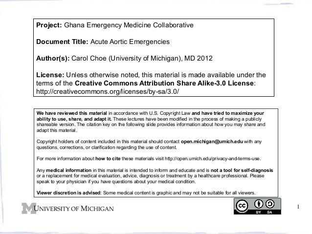 Project: Ghana Emergency Medicine Collaborative Document Title: Acute Aortic Emergencies Author(s): Carol Choe (University...