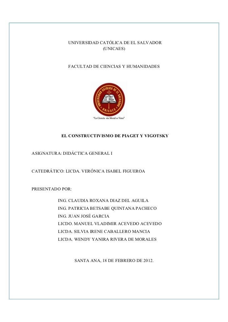 UNIVERSIDAD CATÓLICA DE EL SALVADOR                           (UNICAES)              FACULTAD DE CIENCIAS Y HUMANIDADES   ...