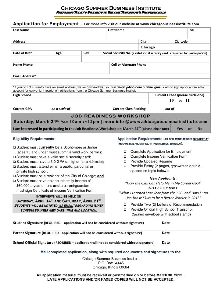 2012 Chicago Summer Business Institute (CSBI) application package