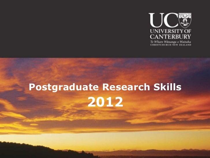Postgraduate Research Skills 2012 (Engineering)