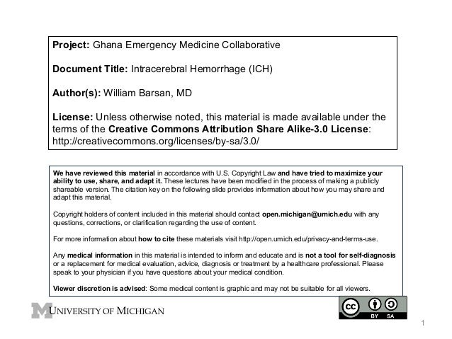 Project: Ghana Emergency Medicine Collaborative Document Title: Intracerebral Hemorrhage (ICH) Author(s): William Barsan, ...