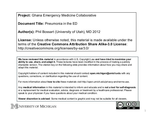 Project: Ghana Emergency Medicine Collaborative Document Title: Pneumonia in the ED Author(s): Phil Bossart (University of...