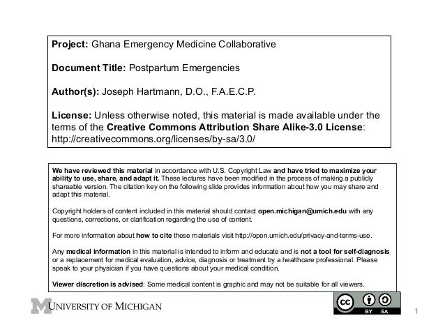 Project: Ghana Emergency Medicine Collaborative Document Title: Postpartum Emergencies Author(s): Joseph Hartmann, D.O., F...
