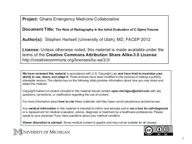 Project: Ghana Emergency Medicine Collaborative Document Title: The Role of Radiography in the Initial Evaluation of C-Spi...