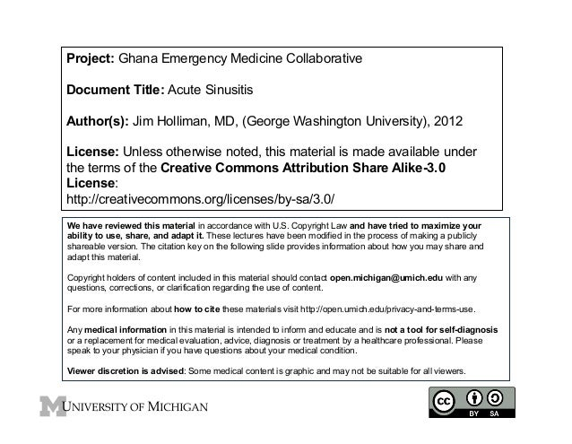 Project: Ghana Emergency Medicine Collaborative Document Title: Acute Sinusitis Author(s): Jim Holliman, MD, (George Washi...