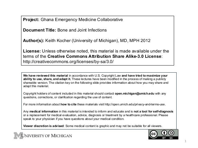 Project: Ghana Emergency Medicine Collaborative Document Title: Bone and Joint Infections Author(s): Keith Kocher (Univers...