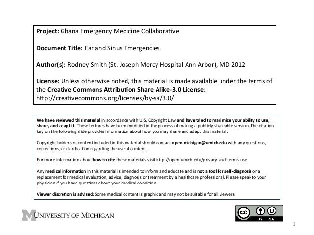 Project:	   Ghana	   Emergency	   Medicine	   Collabora4ve	    	    Document	   Title:	   Ear	   and	   Sinus	   Emergenci...