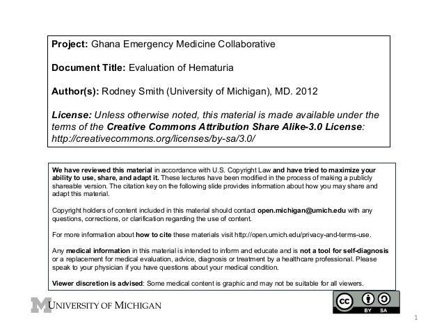Project: Ghana Emergency Medicine Collaborative Document Title: Evaluation of Hematuria Author(s): Rodney Smith (Universit...
