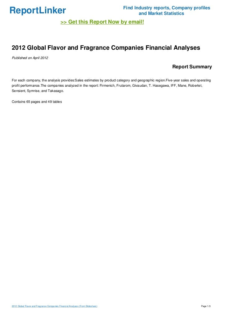 2012 Global Flavor and Fragrance Companies Financial Analyses