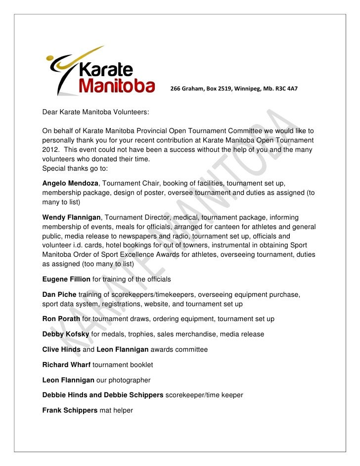 Karate Manitoba Thank You Letter To Volunteers 2012