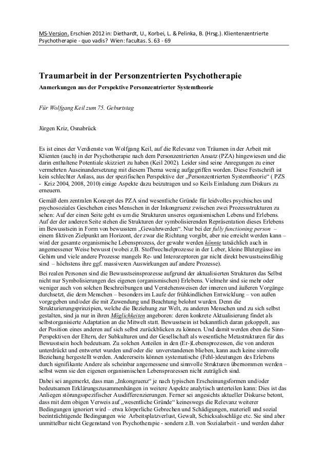 MS-Version. Erschien 2012 in: Diethardt, U., Korbei, L. & Pelinka, B. (Hrsg.). Klientenzentrierte Psychotherapie - quo vad...