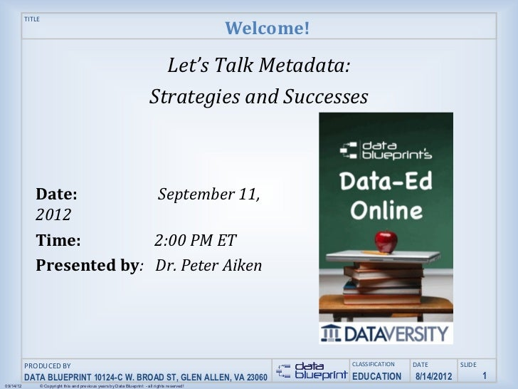 Data-Ed Online: Let's Talk Metadata: Strategies and Successes