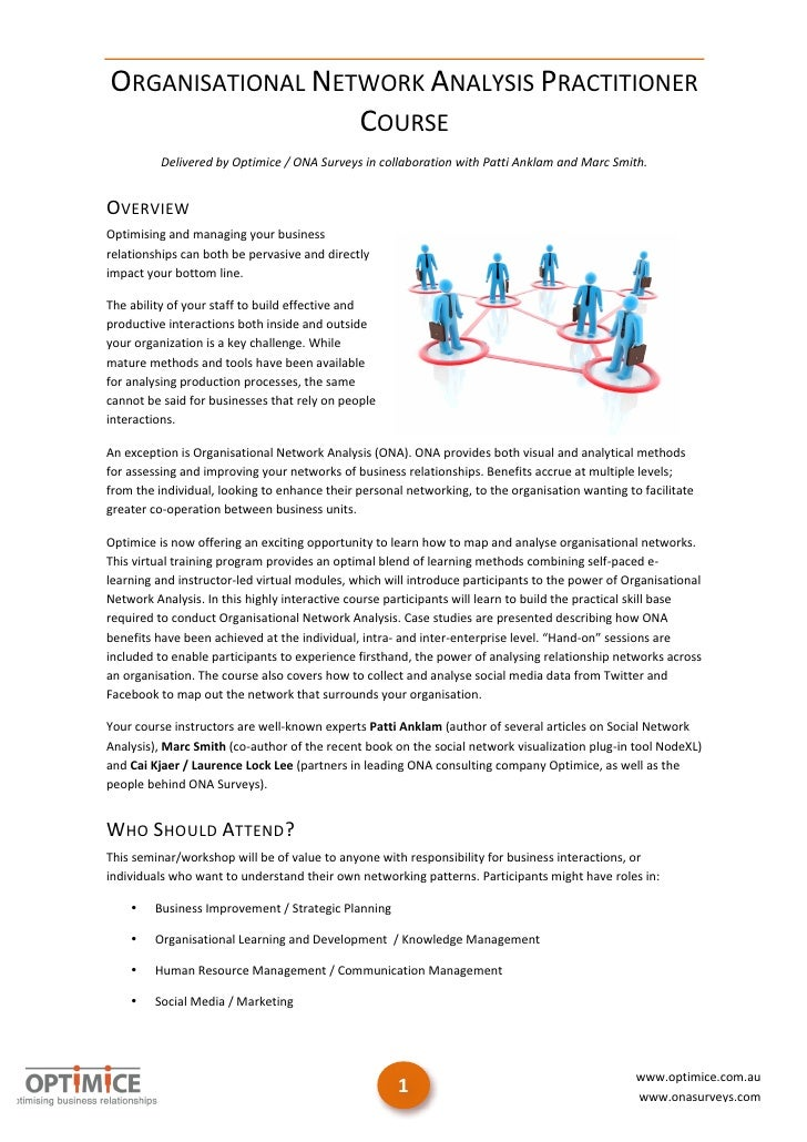 ORGANISATIONAL NETWORK ANALYSIS PRACTITIONER                             COURSE                Delivered by ...