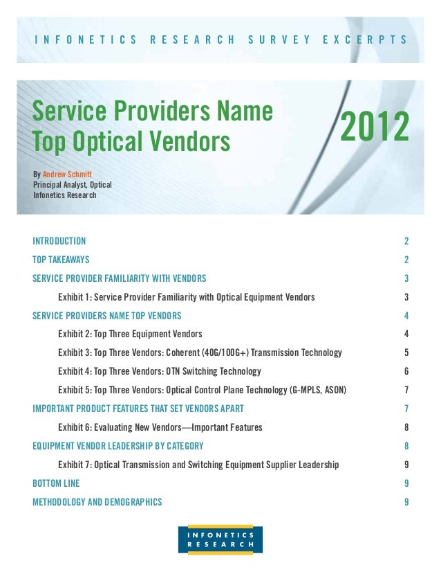 I N F O N E T I C S          R E S E A R C H            S U R V E Y           E X C E R P T SService Providers NameTop Opt...