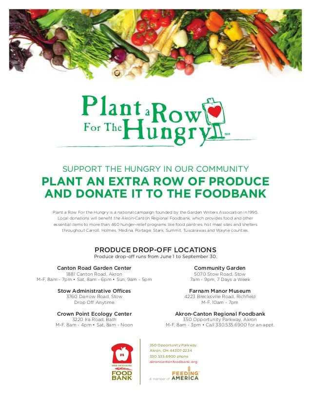 SUPPORT THE HUNGRY IN OUR COMMUNITY  PLANT AN EXTRA ROW OF PRODUCE  AND DONATE IT TO THE FOODBANK      Plant a Row For the...