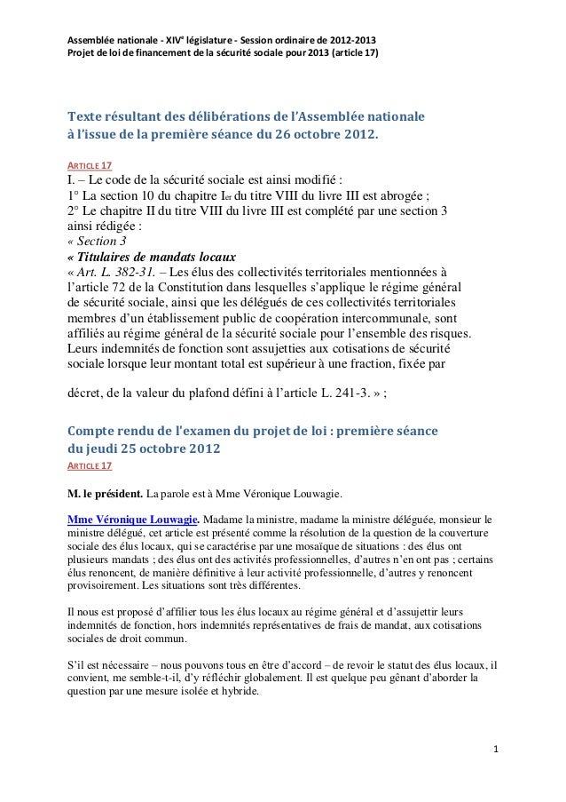 Assemblée nationale - XIVe législature - Session ordinaire de 2012-2013Projet de loi de financement de la sécurité sociale...