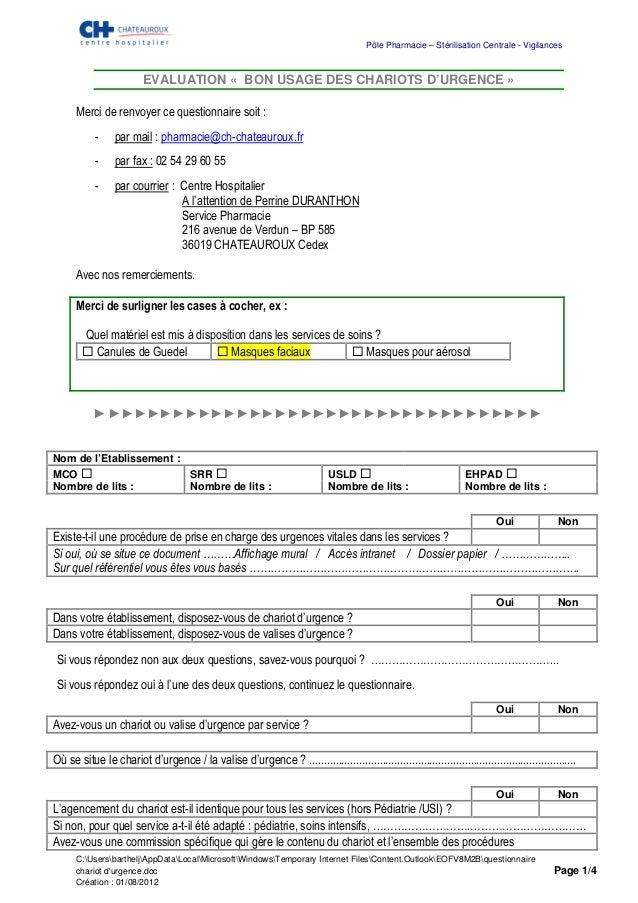 Pôle Pharmacie – Stérilisation Centrale - Vigilances                         EVALUATION « BON USAGE DES CHARIOTS D'URGENCE...