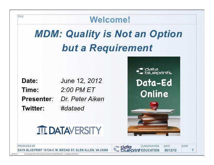 Welcome!           TITLE                                 MDM: Quality is Not an Option                                    ...