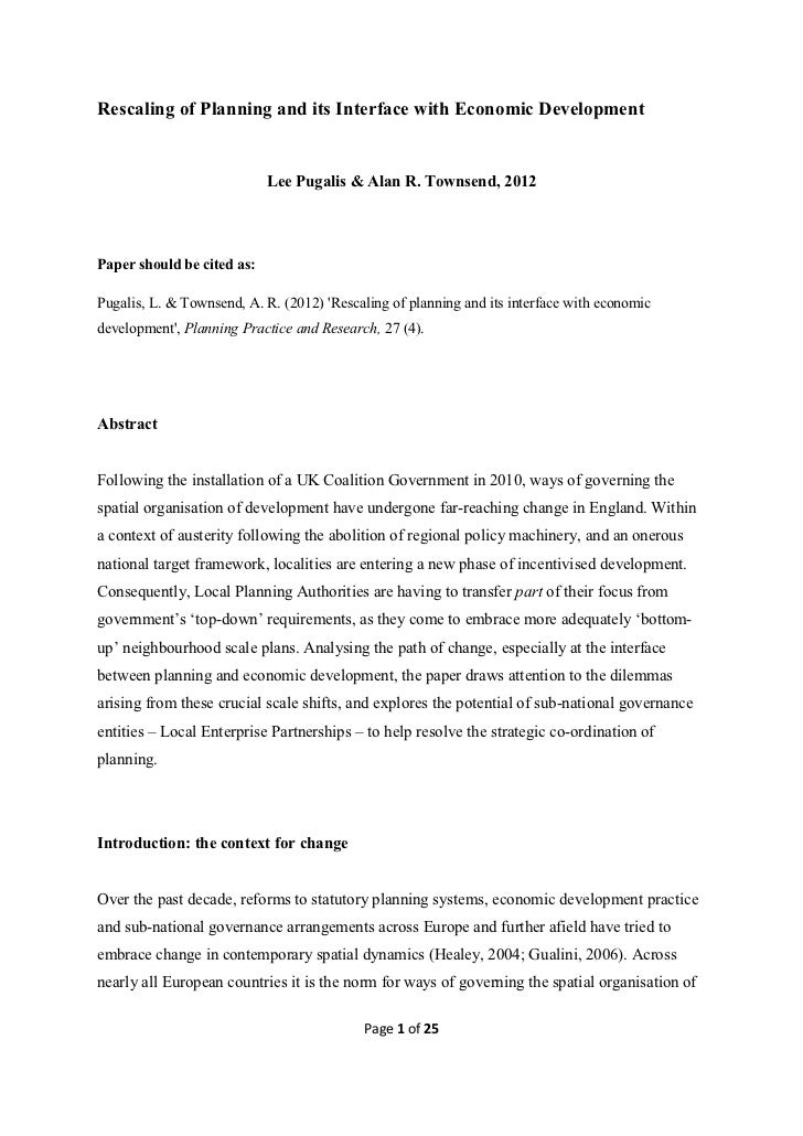 2012 Rescaling of Planning and its Interface with Economic Development - pugalis and townsend