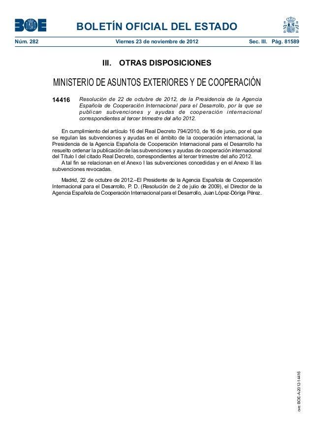 BOLETÍN OFICIAL DEL ESTADONúm. 282                               Viernes 23 de noviembre de 2012                        ...