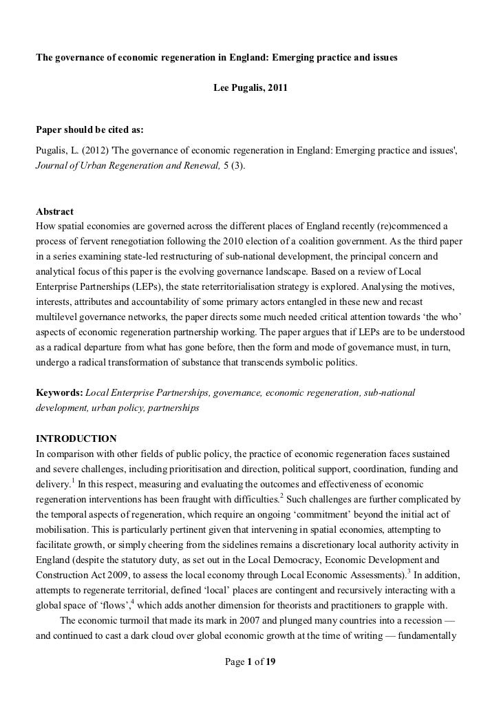 2012 The governance of economic regeneration in England: Emerging practice and issues - Pugalis