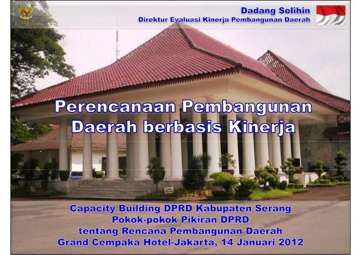 Perencanaan Pembangunan Daerah berbasis Kinerja