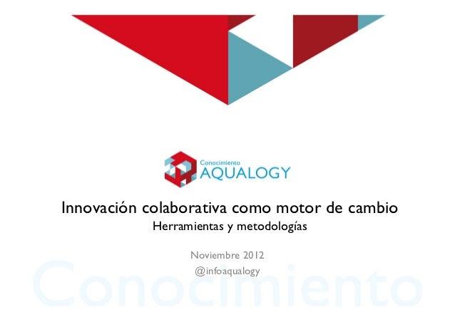 Innovación colaborativa como motor de cambio           Herramientas y metodologías                 Noviembre 2012         ...