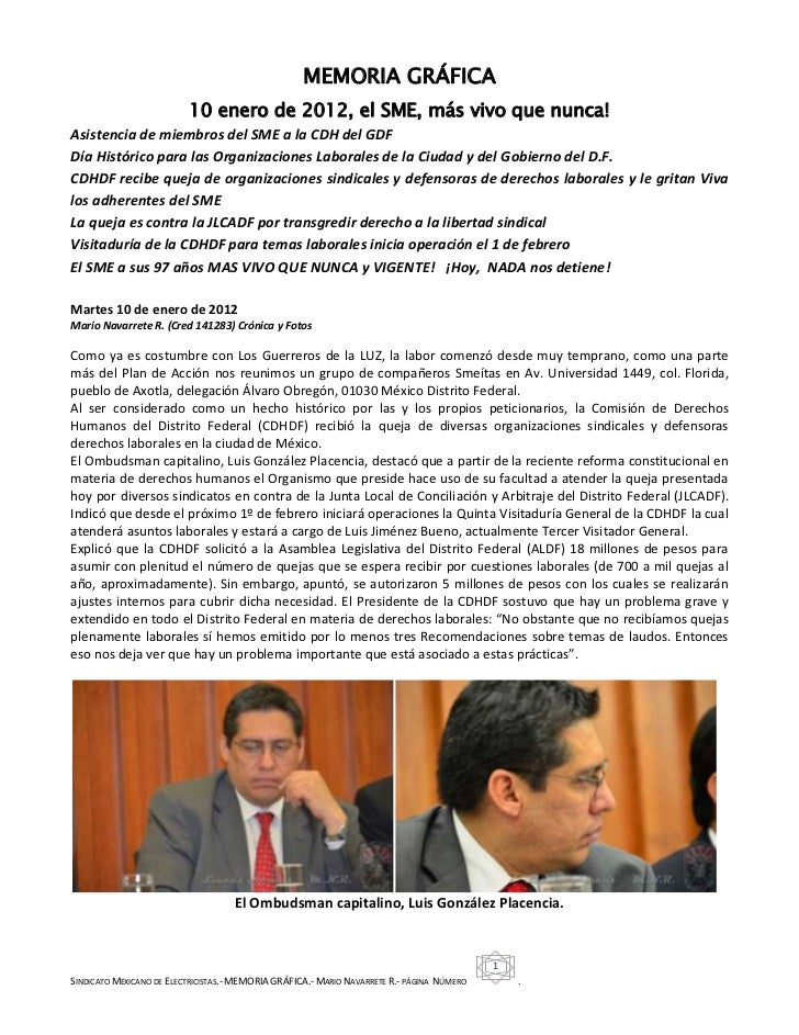 MEMORIA GRÁFICA                          10 enero de 2012, el SME, más vivo que nunca!Asistencia de miembros del SME a la ...