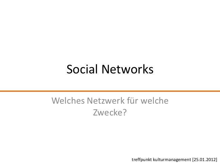 Social NetworksWelches Netzwerk für welche         Zwecke?                  treffpunkt kulturmanagement [25.01.2012]