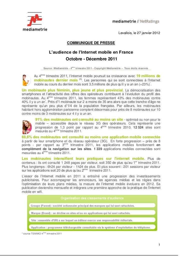 Levallois, le 27 janvier 2012                                       COMMUNIQUE DE PRESSE                        L'audience...