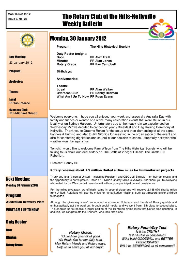 The Rotary Club of the Hills-Kellyville Mon 16 Dec 2012 Issue 3. No. 23                                    Weekly Bulletin...