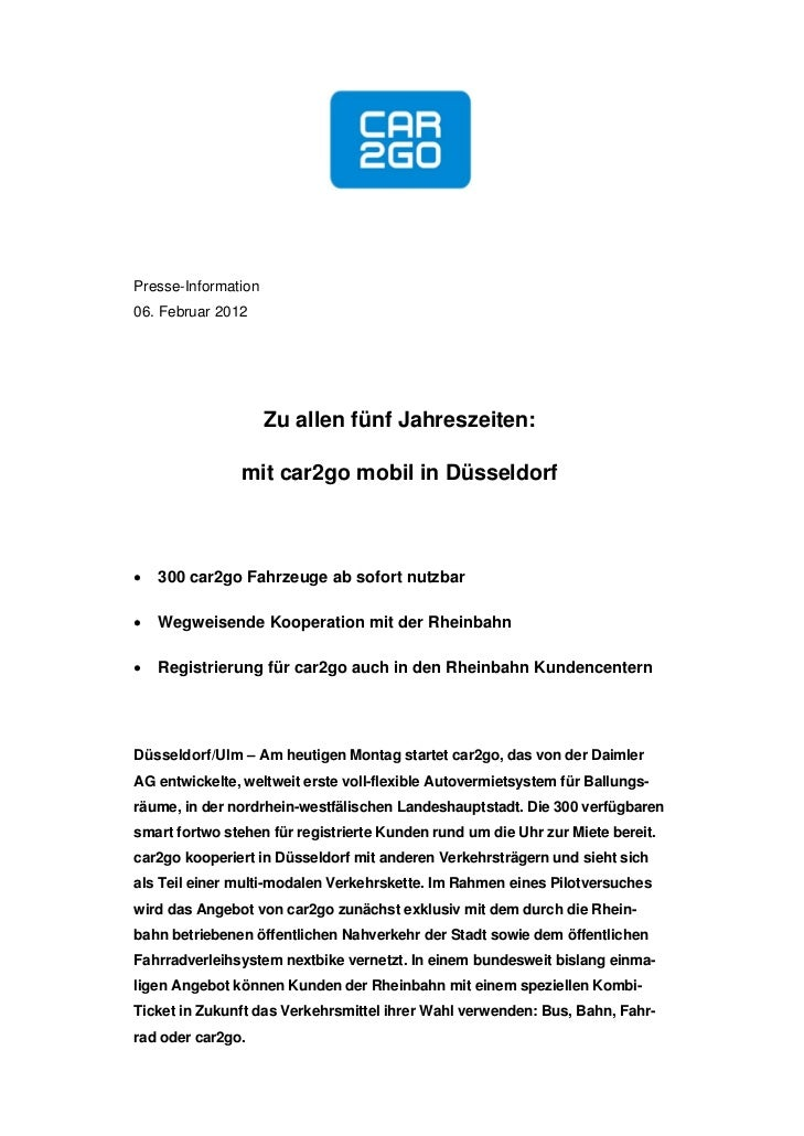 Presse-Information06. Februar 2012                     Zu allen fünf Jahreszeiten:               mit car2go mobil in Düsse...