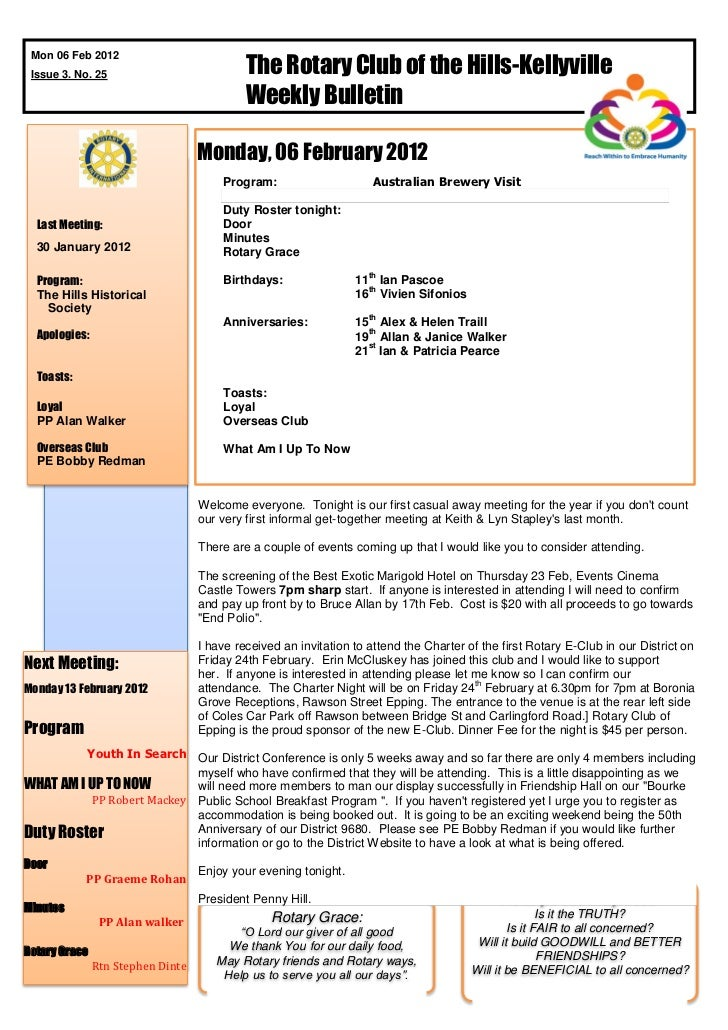 The Rotary Club of the Hills-Kellyville Mon 06 Feb 2012 Issue 3. No. 25                                            Weekly ...