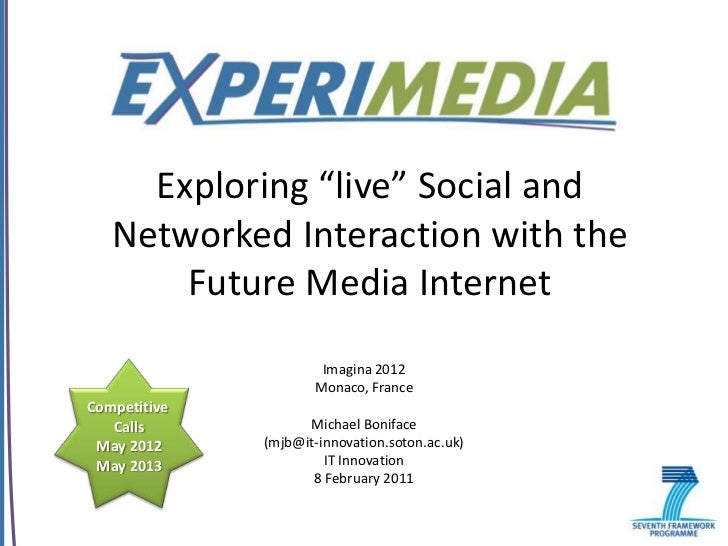 """Exploring """"live"""" Social and   Networked Interaction with the       Future Media Internet                      Imagina 2012..."""