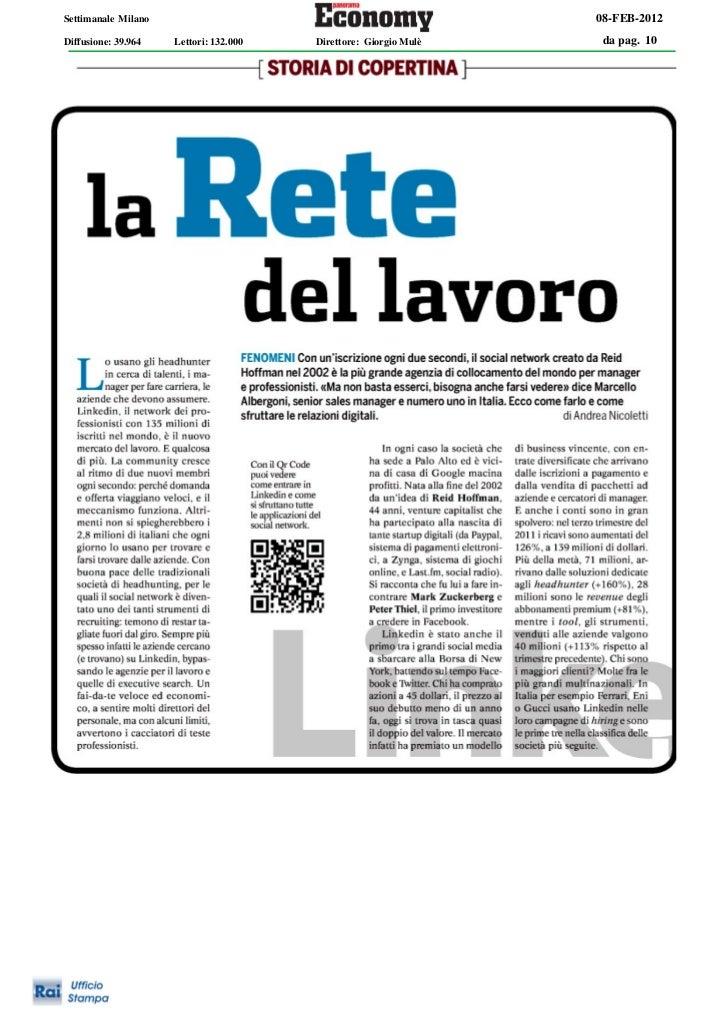 Settimanale Milano                                                08-FEB-2012Diffusione: 39.964   Lettori: 132.000   Diret...