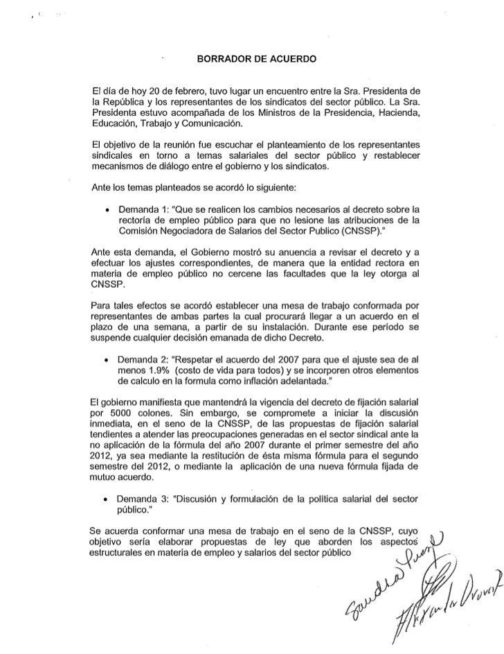 Borrador Acuerdo Gobierno-Sindicatos
